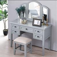 网红灰色美式乡村全实木飘窗梳妆台化妆桌卧室梳妆凳设计师家具 整装