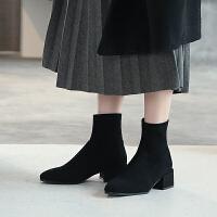 ZHR短靴女春秋季2019新款百搭单靴粗跟网红瘦瘦靴中跟弹力袜靴子