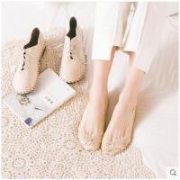 船袜女蕾丝花边隐形袜韩国浅口女士低帮船袜硅胶防滑短袜