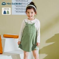 迷你巴拉巴拉儿童连衣裙2021春装新款女童裙子女宝宝牛仔背带裙