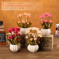 创意南瓜瓶仿真花摆件玫瑰花假花装饰客厅茶几摆设电视柜假草盆栽
