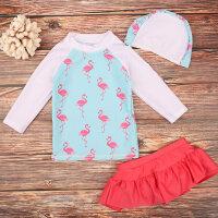 儿童泳衣 女孩泳装女童中大童宝宝幼儿分体裙式泳衣火烈鸟送泳帽