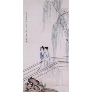 著名画家   陈少梅《柳荫仕女图》