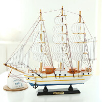 实木质帆船模型 地中海海盗船轮船 手工制作工艺船品礼品帆船摆件