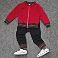 童装套装新款韩版儿童外套1-3-5岁2宝宝春秋运动两件套潮 红色