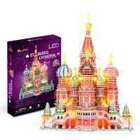 3D立体拼图建筑模型 灯饰版瓦西里大教堂创意智力玩具L519h