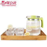 冷水壶 多用途玻璃耐高温透明茶壶家用大容量1.5L加厚果汁瓶水壶