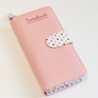 韩版钱包女短款小清新折叠森系两折长款学生可爱拉链小零钱包ins 粉红色长款 816T