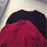 韩版童装儿童毛衣纯棉毛线黑色毛衣酒红色线衫男童女童中小童春秋