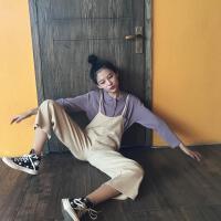 春季新款韩版学院风polo长袖针织衫上衣+减龄背带连体裤套装女 均码
