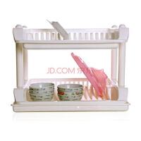实用双层碗碟收纳架/沥水架 餐具沥水架置放架 碗架