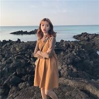 秋冬韩版女装半高领毛呢拼接长袖连衣裙女学生宽松中长款打底裙