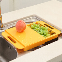 可滑动厨房沥水二合菜板 置物架切肉板水果防滑案板厨房砧板菜板带收纳槽切菜板沥水篮筐