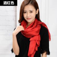 丝巾女韩版冬季百搭围巾女士纯色春季冬天披肩保暖长款大红色围脖