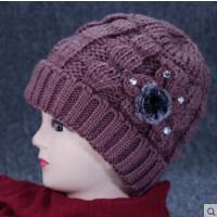 老年人女帽子保暖毛线帽针织加绒加厚妈妈帽中老年套头奶奶帽花朵