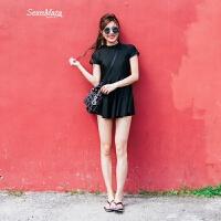 泳衣女连体保守裙式遮肚显瘦韩国带袖小胸聚拢学生温泉游泳衣 黑色 M