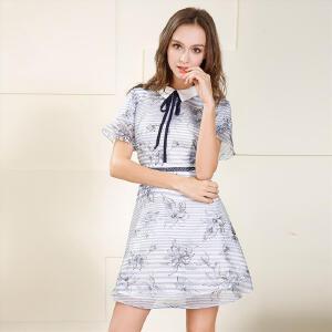 欧莎2017夏装新款女装 显瘦条纹文艺气质短袖连衣裙