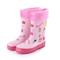 小孩加棉雨靴加绒个性加棉棉绒女孩可爱女童雨鞋儿童女雨靴防滑公主童