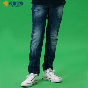 儿童裤子男大童牛仔裤直筒秋冬2018新款男孩童装宽松休闲厚款长裤