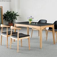 北欧实木餐桌椅 白蜡木大理石桌面家用餐桌椅 简约餐厅桌椅组合