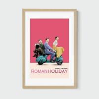 罗马假日奥黛丽赫本电影海报装饰画人物客厅卧室挂画墙壁画有框 53x78厘米 白色框(2.5厘米厚) 卡纸款,