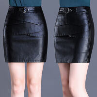 黑色皮裙女半身裙包臀裙秋冬季新款短裙一步裙包裙高腰裙子