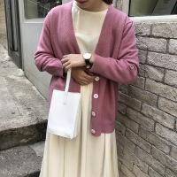 早秋韩版纯色学生V领毛衣针织宽松百搭显瘦开衫外套上衣女装 均码