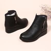 冬季新款妈妈棉鞋平底防滑真皮羊毛短靴女保暖中老年女靴加绒女鞋 黑色