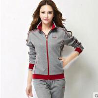 新款开衫长袖两件套 中老年运动套装女 大码休闲运动服妈妈装女
