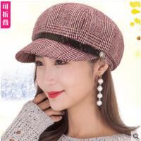秋冬女士帽子复古文艺画家帽时尚贝雷帽韩版百搭八角帽