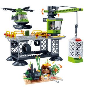 【当当自营】【当当自营】邦宝益智拼装积木玩具塑料376小颗粒拼插5岁男孩玩具礼物 黑鲨基地7405
