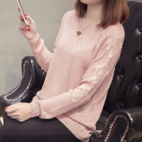 秋装2018新款女针织衫长袖韩版宽松短款套头毛衣蕾丝打底衫薄