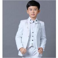 演出服 西装 男童礼服儿童小西装套装 花童男孩钢琴演出服白色西服中大童