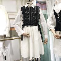 新款连衣裙春chic镂空蕾丝马甲收腰衬衫裙两件套中长款a字裙