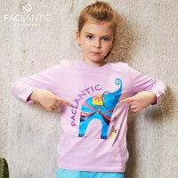 派克兰帝童装儿童上衣 男童女童图案系列圆领长袖T恤
