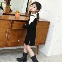 女童连衣裙秋款2017新款韩版公主时尚装洋气毛衣裙子季儿童 毛衣裙假两件 - 黑色