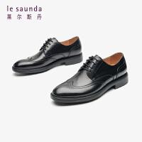 莱尔斯丹 男鞋时尚商务正装圆头系带车缝线低跟单鞋皮鞋德比鞋LS ATM90803