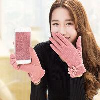 触屏女士手套女 韩版保暖手套分指加绒加厚骑车棉手套