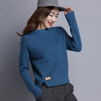 毛衣女秋冬季新款韩版圆领长袖套头加厚针织衫原宿宽松短款女上衣