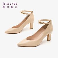 莱尔斯丹 女鞋专柜同款时尚优雅尖头浅口一字带多穿法粗高跟单鞋LS AT87115