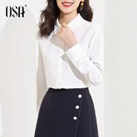 【2件1.5折价:149元】OSA欧莎职业OL白色衬衫女时尚洋气法式衬衣春装2021年新款高级感上衣