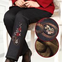中年人女裤秋冬季加绒加厚棉裤妈妈直筒长裤奶奶宽松保暖裤外穿