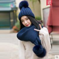 出游狐狸毛球帽子围巾两件套女甜美可爱韩版针织百搭新款潮毛线帽