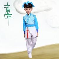 儿童古装书童演出服装弟子规三字经表演古诗朗诵男女幼儿园国学服