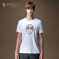 PINLI品立2020夏季新款男�b修身印花短袖T恤�棉上衣男潮日常休�e