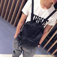 水洗皮男士双肩包韩版潮流时尚休闲书包款背包软面旅行包小潮包 黑色