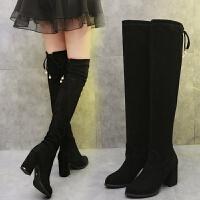 2018秋冬新款长筒靴子女高跟显瘦过膝靴粗跟高筒靴加绒黑色弹力靴