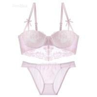 蕾丝刺绣可爱少女内衣性感聚拢可插片薄款塑身文胸套装 粉白色