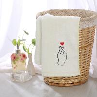 竹浆竹纤维毛巾洗脸家用比棉吸水竹炭面巾擦脸巾网红情侣创意 手势心 白色 34x74cm