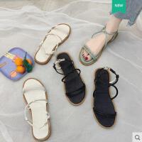 女鞋百搭沙滩鞋仙女风凉鞋女学生平底厚底罗马鞋